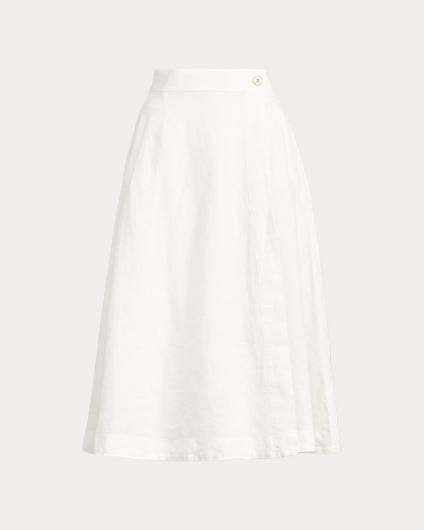 亚麻布裹身式半身裙